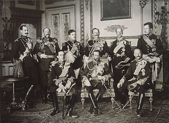 A photo of nine monarchs in attendance at Edward VII of the United Kingdom's funeral.